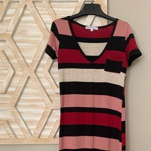 Long pink and red striped dress